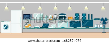 Modern electronics store interior, vector flat illustration. Fridge, washing machine, other consumer electronic products and home appliances on shelves for poster, banner etc.