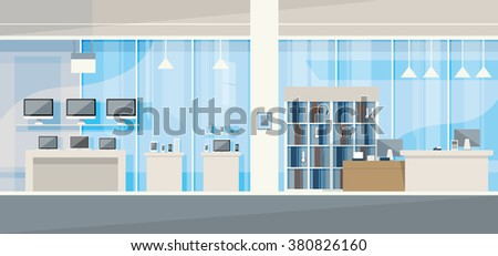 Modern Electronics Store Shop Interior Vector Illustration