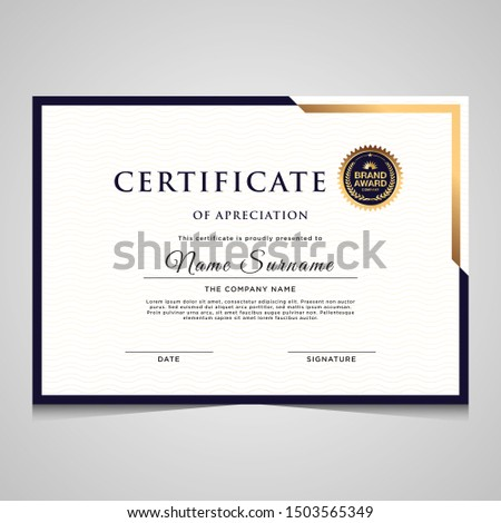 Modern elegant blue and gold diploma certificate template. Use for print, certificate, diploma, graduation