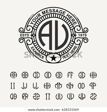 Modern emblem, badge, template. Luxury elegant frame ornament line logo design vector illustration. And set to create monograms of two letters in scribed in a circle.