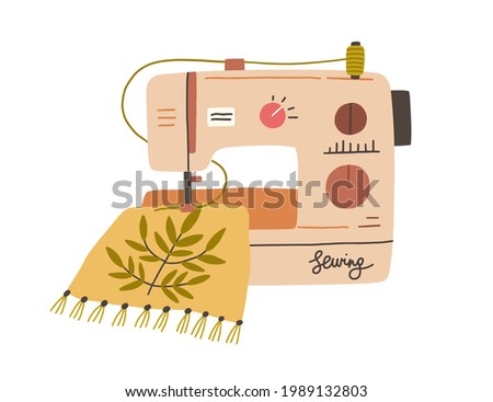 Modern embroidery machine with thread spool embroidering on canvas. process of needlework creation on sewing equipment. Flat vector illustration of fancywork isolated on white background Stock photo ©