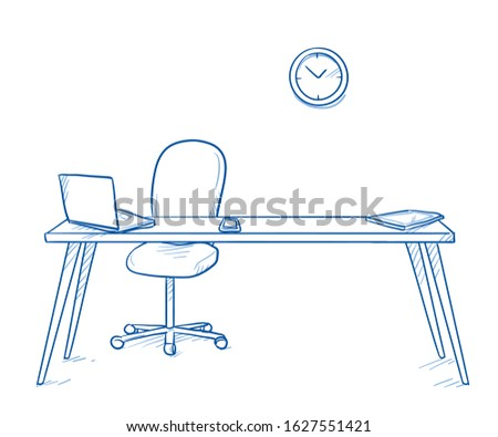 Modern, empty workspace desk with chair, laptop,  mobile phone and tablet. Concept for modern office, hiring or vacant position. Hand drawn line art cartoon vector illustration