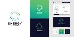Modern energy logo and business card design. solution, positive, modern, energy, icon, Premium Vector