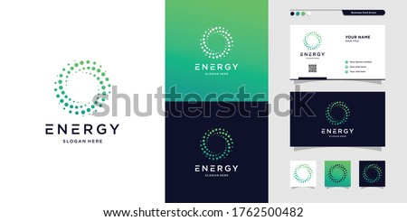 Modern energy logo and business card design. solution, positive, modern, energy, icon, Premium Vector