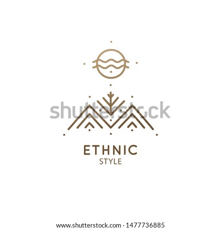 Modern esoteric abstract logo mountain landscape. Zen minimal symbol of sacred pyramides and tree. Natrural simple trendy icon. Vector linear sign for design of tattoo, spiritual yoga, travel, alchemy