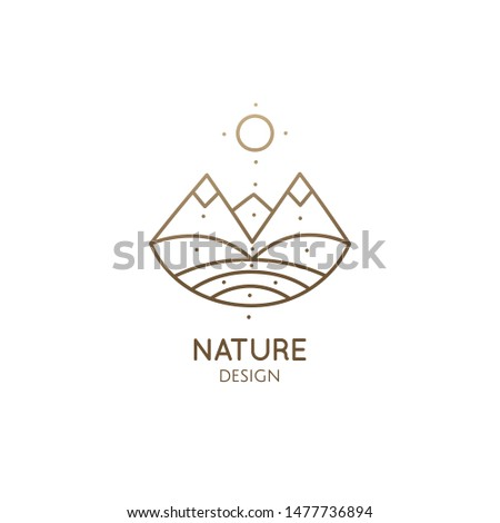 Modern esoteric abstract logo mountain landscape. Zen minimal symbol of sacred pyramides. Natrural simple trendy icon. Vector linear sign for design of tattoo, spiritual yoga, travel, eco cosmetic
