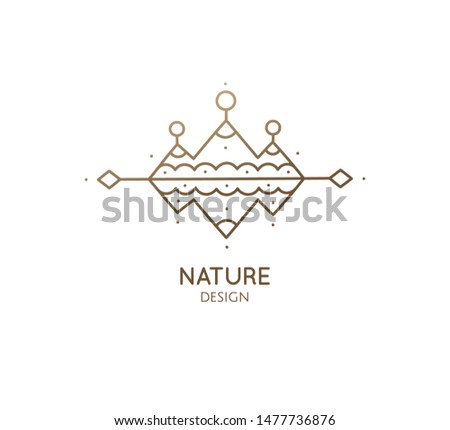 Modern esoteric abstract logo mountain landscape. Zen symbol of sacred pyramides with mountains reflection. Geometric pattern icon. Vector linear symmetric sign - tattoo, travel, alchemy, astrology