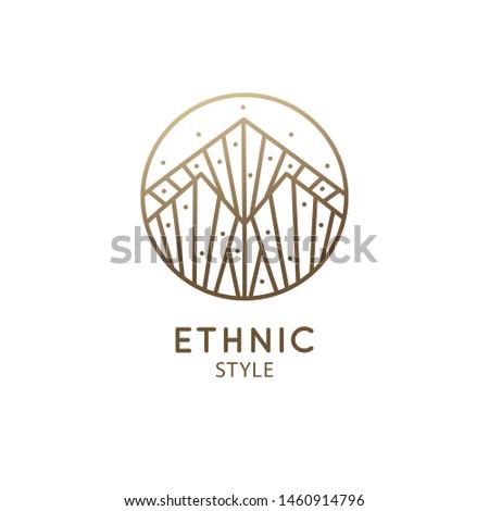 Modern esoteric abstract mountain logo. Zen minimal symbol of mountains. Natrural minimalistic landscape icon. Vector linear pattern. Ornamental emblem. Tattoo, spiritual yoga, travel, herbal cosmetic