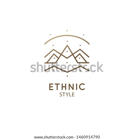 Modern esoteric abstract mountain logo. Zen minimal symbol of sacred pyramides. Natural minimalistic landscape icon. Vector linear sign of mountains. Tattoo, spiritual yoga, travel, eco cosmetic