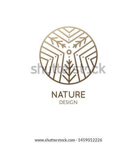 Modern esoteric abstract nature logo. Zen minimal symbol of mountains. Herbal plant, leaf, landscape icon. Vector line pattern. Circle leaf tree emblem. Tattoo, spiritual yoga, travel, herbal cosmetic