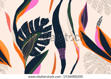 Modern exotic jungle plants illustration pattern. Creative collage contemporary seamless pattern. Fashionable template for design.