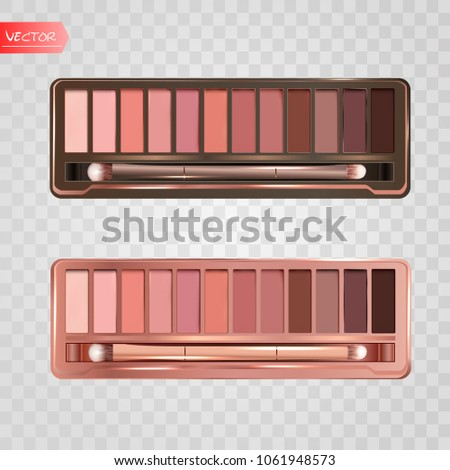 Modern eye shadow palette set. Mockup 3d illustration isolated on transparent background. Graphic concept for your design