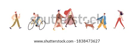 Modern faceless people walking and riding bicycle on city street. Group of fashionable male and female character spend time outdoors. Vector illustration in flat cartoon style Stockfoto ©
