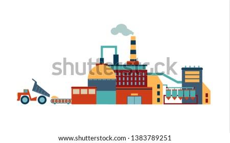 Modern factory. Vector flat illustration.