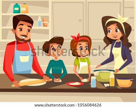 Modern family together cooking at kitchen vector cartoon flat illustration. Happy European Caucasian family preparing meal food at kitchen of happy father and mother with daughter and son children