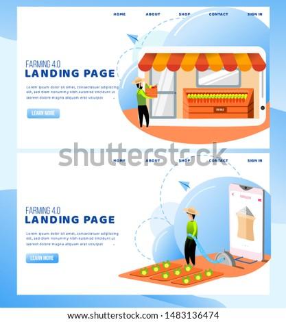 Modern farming illustration, farming 4.0 landing page