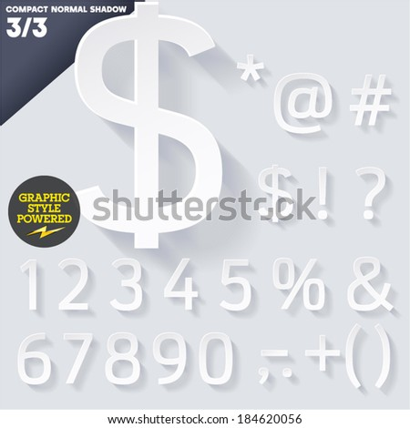 Modern flat alphabet for infographics with long ambient shadow. Compact Medium White #184620056