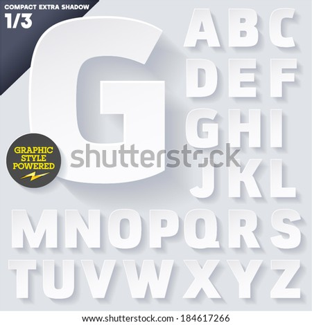 Modern flat alphabet for infographics with long ambient shadow. Vector set. Upper case #184617266