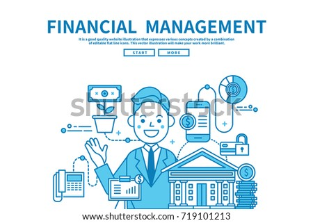 Modern flat blue color line vector editable graphic illustration, business finance concept, financial management