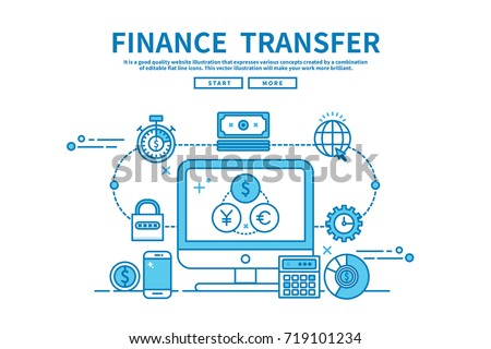 Modern flat blue color line vector editable graphic illustration, business finance concept, finance  transfer