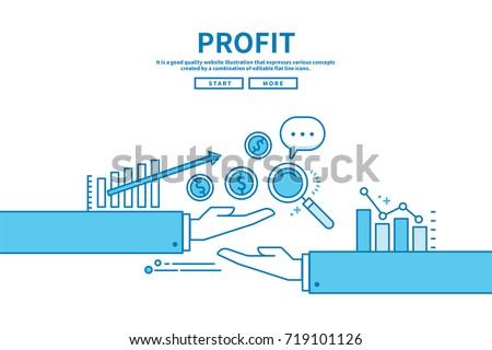 Modern flat blue color line vector editable graphic illustration, business finance concept, profit