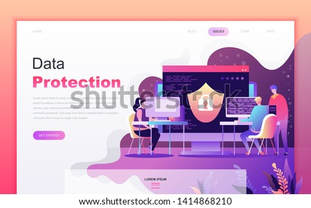 Modern flat cartoon design concept of Data Protection for website and mobile app development. Landing page template. Decorated people character for web page or homepage. Vector illustration.