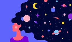 Modern flat character. Woman with dream universe. Simple character of woman girl with universe starry night in hair. Woman character in dream. Concept in flat color graphic. Vector Illustration