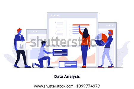 Modern flat color design, Business concept for Data Analysis, easy to use and highly customizable. Modern vector illustration concept, isolated on white background.