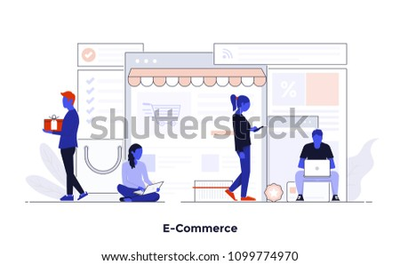 Modern flat color design, Business concept for E-Commerce, easy to use and highly customizable. Modern vector illustration concept, isolated on white background.