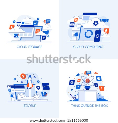Modern flat color designed concepts icons for Cloud Storage, Cloud Computing, Startup and Think outside the box. Can be used for Web Project , Applications, Infographics and Print design. Vector