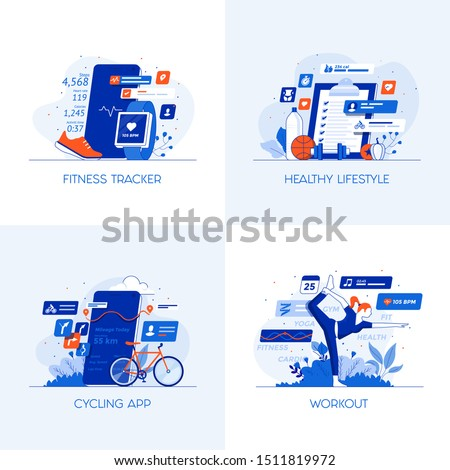 Modern flat color designed concepts icons for Fitness Tracker, Healthy Lifestyle, Cycling app and Workout. Can be used for Web Project , Applications, Infographics and Print design. Vector