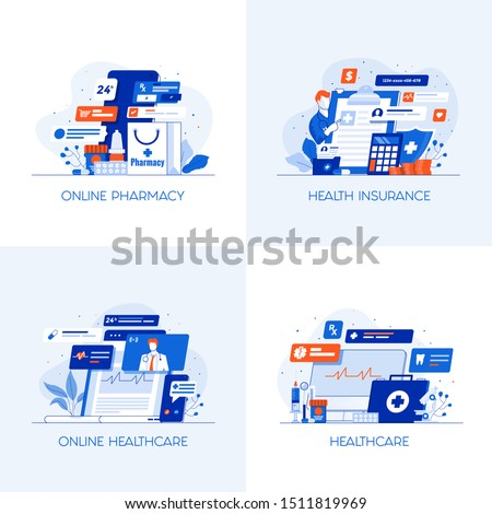 Modern flat color designed concepts icons for Online Pharmacy, Health Insurance, Online Healthcare and Healthcare. Can be used for Web Project , Applications, Infographics and Print design. Vector