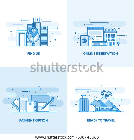Modern flat color line designed concepts icons for Find us, Online Reservation, Payment Option and Ready to Travel. Can be used for Web Project and Applications. Vector Illustration
