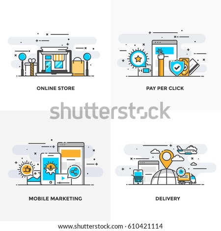 Modern flat color line designed concepts icons for Online Store, Pay Per Click, Mobile Marketing and Delivery. Can be used for Web Project and Applications. Vector Illustration