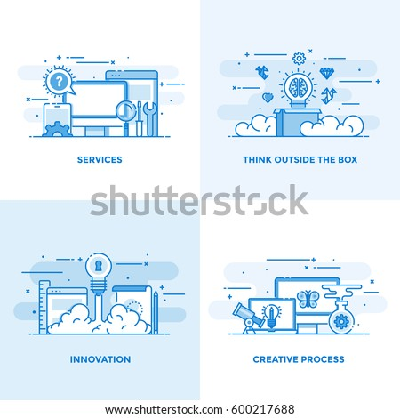 Modern flat color line designed concepts icons for Services, Think Outside the Box, Innovation and Creative Process. Can be used for Web Project and Applications. Vector Illustration