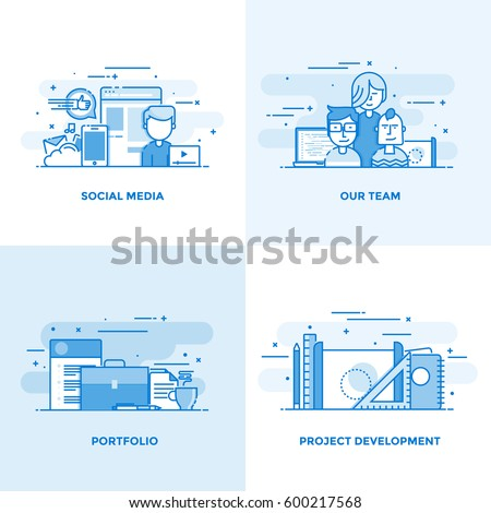 Modern flat color line designed concepts icons for Social Media, Our Team, Portfolio and Project Development. Can be used for Web Project and Applications. Vector Illustration