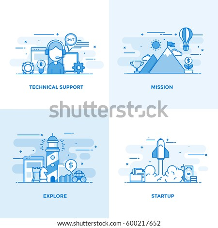 Modern flat color line designed concepts icons for Technical Support, Mission, Explore and Startup. Can be used for Web Project and Applications. Vector Illustration