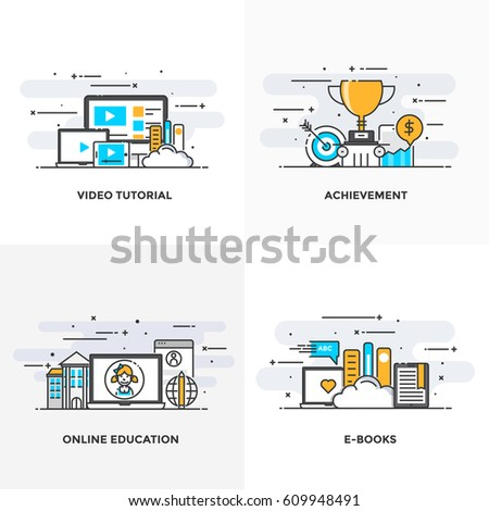 Modern flat color line designed concepts icons for Video Tutorial, Achievement, Online Education and E Books. Can be used for Web Project and Applications. Vector Illustration