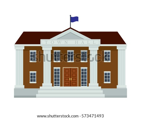 Modern Flat Commercial Government Office Building, Suitable for Diagrams, Infographics, Illustration, And Other Graphic Related Assets - Town Hall