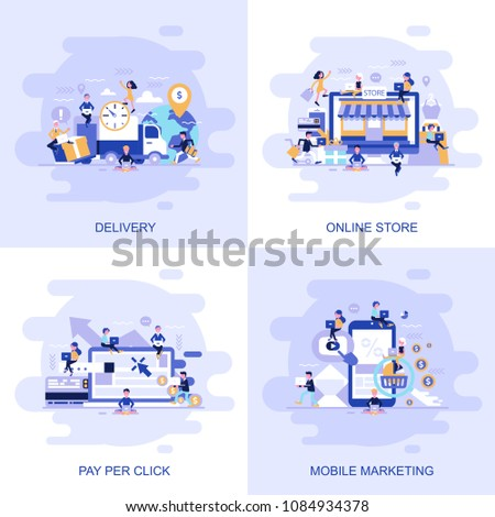 Modern flat concept web banner of Online Store, Pay Per Click, Mobile Marketing and Delivery with decorated small people character. Conceptual vector illustration for web and graphic design.
