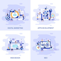 Modern flat concept web banner of Seo, Web Design, Apps Development and Digital Marketing with decorated small people character. Conceptual vector illustration for web and graphic design, marketing.
