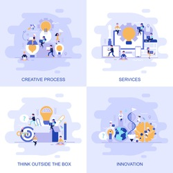 Modern flat concept web banner of Services, Think Outside the Box, Innovation and Creative Process with decorated small people character. Conceptual vector illustration for web and graphic design.