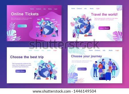 Modern flat concept web banners Travel Agency with people character. World traveling, international journey, summer vacation concept. Summertime vacation and exotic traveling. Vector illustration.