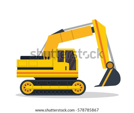 Modern Flat Construction Vehicle Illustration - Excavator