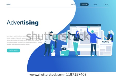 Modern flat design concept of Advertising and Promotion for website and mobile website development. Landing page template. Social media campaign, marketing research. Vector illustration.