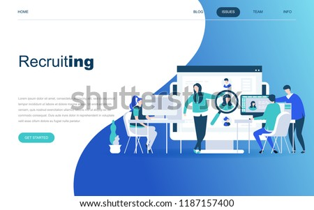 Modern flat design concept of Business Recruiting for website and mobile website development. Landing page template. Employer, businessman resources, hr job presentation. Vector illustration.