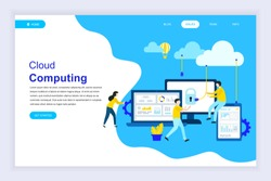 Modern flat design concept of Cloud Technology for website and mobile website development. Landing page template. Cloud computing service online media file data backup storage. Vector illustration.