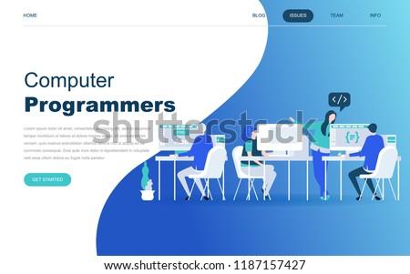 Modern flat design concept of Computer Programmers for website and mobile website development. Landing page template. Developer of project team of engineers for website coding. Vector illustration.
