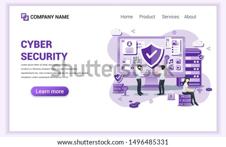 Modern flat design concept of Cyber security with characters check access, protecting data and confidentiality .Can use for banner, mobile app, landing page, web template. Flat vector illustration