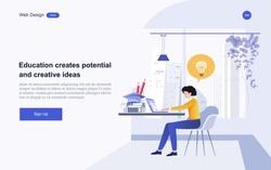 Modern flat design concept of education for website banner and landing page template.Online education, training and courses, learning. Vector illustration.